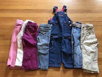 7 Piece Girl's 2T Jean, Pants, And Overall Lot