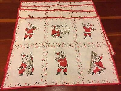 Vintage Set Of 4 Santa Linen Placemats. Santa Playing Instruments 16 X 13""