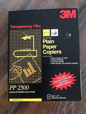 NEW 3M PP2500 TRANSPARENCY FILM SHEETS PLAIN PAPER COPIERS 100 Sheets