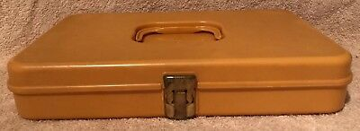 Vintage Wilson Wil-Hold Mustard Yellow Plastic Sewing Thread Box - Made In USA