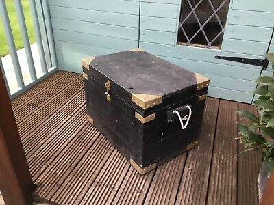 Old wooden pine chest trunk rustic industrial table storage box hasp