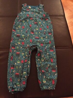 Frugi Dungarees 2-3 Years 90-98cm Reversible Teal Christmas Pattern Polka Dots