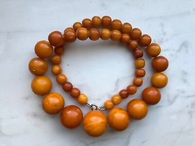 ANTIQUE BUTTERSCOTCH EGG YOLK NATURAL BALTIC AMBER NECKLACE 41 gr.