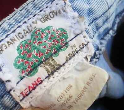 23x34 Fit Vtg 70s Womens ORGANICALLY GROWN RELIC BOOTCUT FLARE DENIM HIPPY JEANS