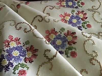 Beautiful Vintage Irish Linen Hand Embroidered Tablecloth ~ X Stitch Florals