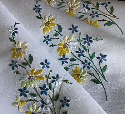 Lovely Vintage Linen Hand Embroidered Tablecloth ~ Pretty Floral Sprays