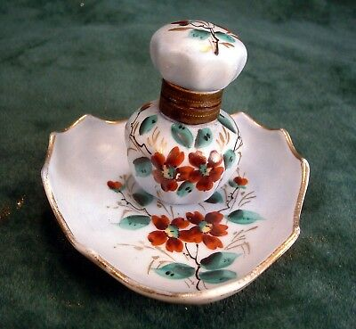 Vintage Hand Painted Floral Decorated Porcelain China Inkwell with Attached Tray