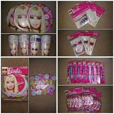Barbie partyware cups plates party bags napkins pens blowouts invitations banner