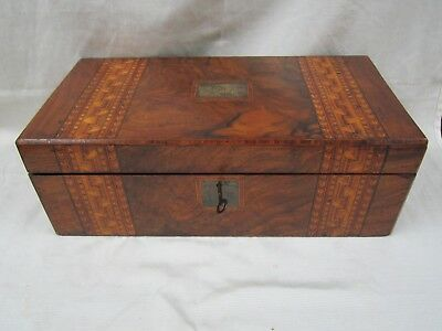 Rare Magnificent English Georgian Inlaid Parquetry Campaign Lap Desk Writing Box