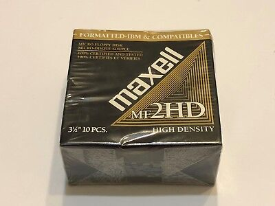 """MAXELL MICRO FLOPPY DISK 3-1/2"""" - MF2HD 1 pack (10 Disks total) New in Box"""