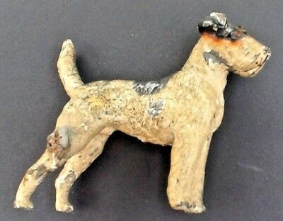 Vintage / Antique Cold Painted Bronze Dog / Fox Terrier Possibly Austrian - Rare