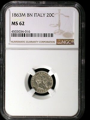 Kingdom of Italy 1863 M BN Silver 10 Centesimi *NGC MS-62* Only 15 Known in UNC