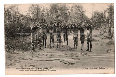 ANTIQUE VINTAGE USED POSTCARD ABORIGINAL MYSTIC BORA CEREMONY Early 1900s rare