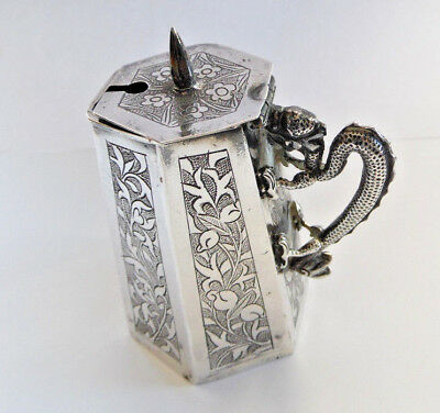 Antique 19th Century Chinese Silver Condiment Pot, Dragon Handle - 33.5g