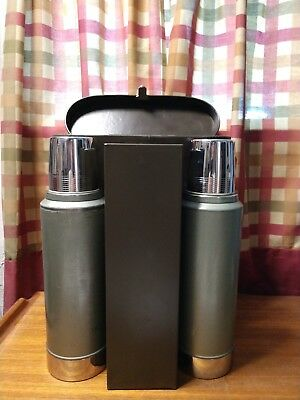 Vintage Skyscraper Stanley Thermos Picnic Lunch Hunting Set With Leather Case