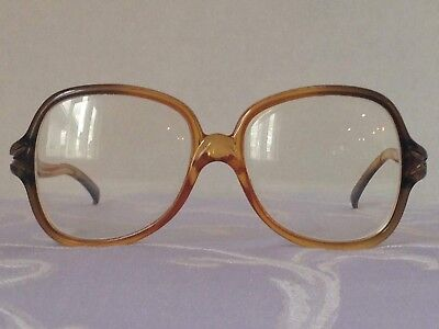 Eye Glass Frames Vintage Amber Plastic Drop Frame 1980's Womens Retro Spectacles