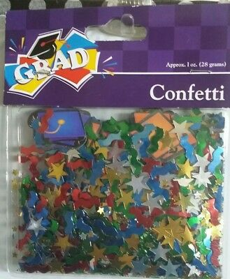 Confetti Graduation Party Multi-Color Table Scatter Caps Stars Grad 1oz  Foil NOS 15c9ab33ea87