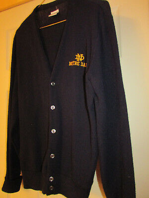Vintage Notre Dame Button Cardigan Sweater THE BIG R  Navy Blue Wool ? Mens M ?