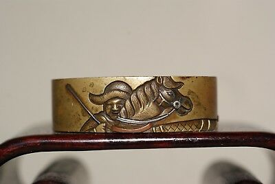 Antique Japanese Edo Mixed Metals Fuchi,A Samurai Motif,Signed