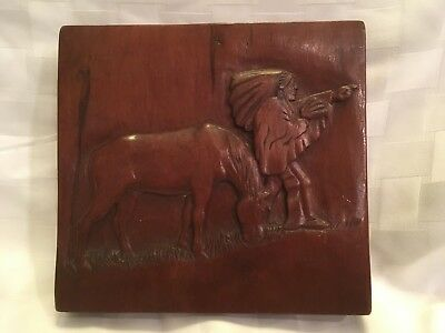 Primitive signed 1937 Wood Relief Carved Folk Art Native American & Horse