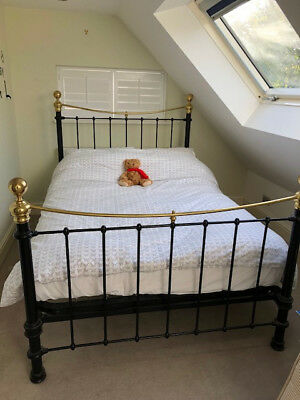 Victorian iron and brass bedstead