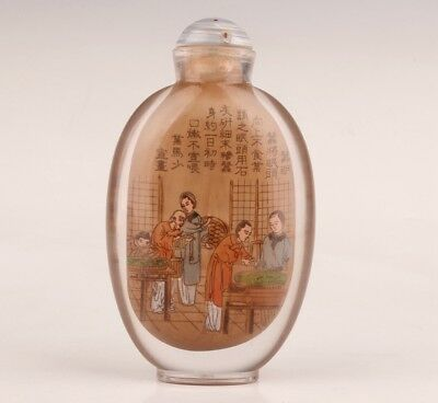 Antique Chinese Glass Snuff Bottles Painted Hand Belle Crafts Decoration