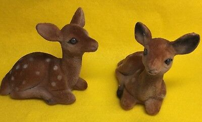Vintage Flocked Fawn Made In Hong Kong Baby Deer Lot of Two