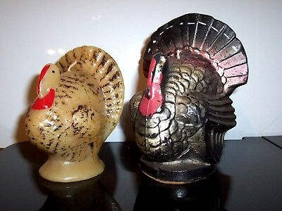 """2 Vintage Gurley Thanksgiving Turkey candles, one 6 1/2"""" TALL the other 5 1/2"""" ."""