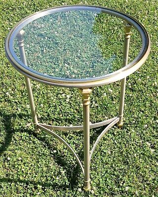 Vintage MCM Hollywood Regency Brushed Chrome Brass & Glass Round End Table