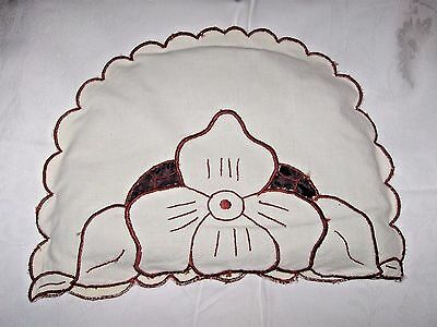 Antique Tea Cosy Cozy Cut Work Linen Quilted Liner Cream Brown pre-1930 MINT