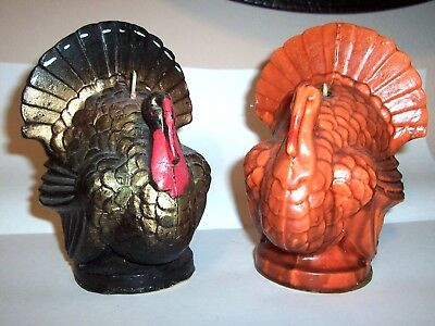 """2 Vintage Gurley Thanksgiving Turkey candles - 6 1/2"""" tall - THE BIG ONES !!"""