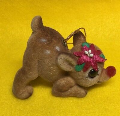 Vintage Flocked Fawn Baby Deer Ornament Japan Crouching Christmas Reindeer