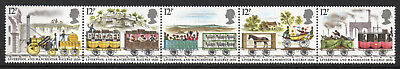 GB Stamps 1980 150th Anniv of L'pool & M'chester Railway Strip of 5. MNH.