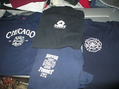 4 Different FIRE Rescue Firefighter T Shirts XLarge