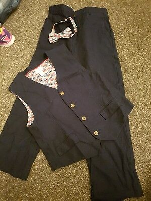 Boys immaculate navy monsoon suit age 12 years waistcoat bow tie trousers