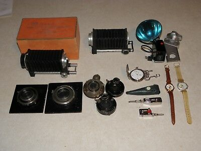 Vintage Lot Of Camera Bellows, Lens, Flash, Watches, Timers All One Bid Nr Fs