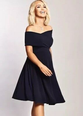 Katie Piper Maternity Navy Bardot Twist Front Detailed Dress Size 10
