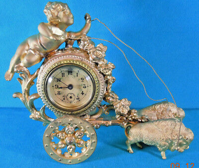 Waterbury Novelty Clock of Bison Pulling Putti in Chariot c.1901 Pan-Am Expo