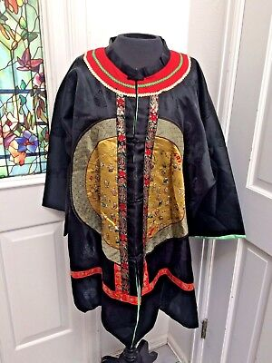 Antique Chinese Robe With Hand Embroidered Thousand Faces Rank Badge