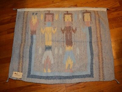 Native American Indian Hand Woven Wool Rug Traditional Navajo Ceremonial Yei