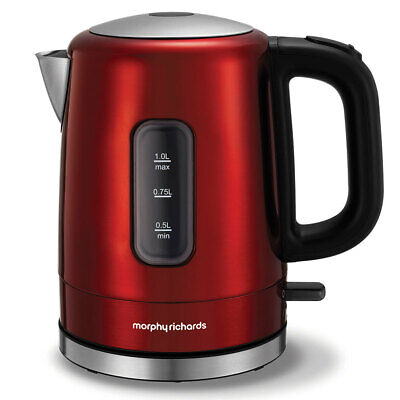 Morphy Richards 2200W Accents 1L Red Stainless Steel Electric Kettle 101007