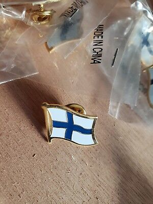 12 FINLAND NATIONAL COUNTRY WORLD FLAG LAPEL PINs NOS Collectible Hat Work NOS
