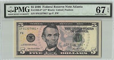 United States 2006 Fr. 1993-F* PMG Superb Gem UNC 67 EPQ 5 Dollars Atlanta Star