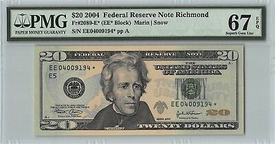 United States 2004 Fr. 2089-E* PMG Superb Gem UNC 67 EPQ $20 Richmond Star