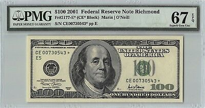 United States 2001 Fr. 2177-E* PMG Superb Gem UNC 67 EPQ $100 Richmond Star