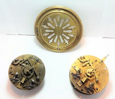 Antique French Mantel Clock Movements and Brass colored Back Door-Clock Parts