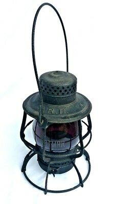 RARE Antique Keystone PA Pennsylvania Railroad PRR Lantern H&BTMRR RUBY GLOBE NR