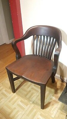 Vintage Mahogany Arm Chair Office Seat 1920's Banker  B.L. Marble
