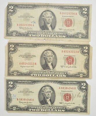 Lot (3) Red Seal $2.00 US 1953 or 1963 Notes - Currency Collection *290