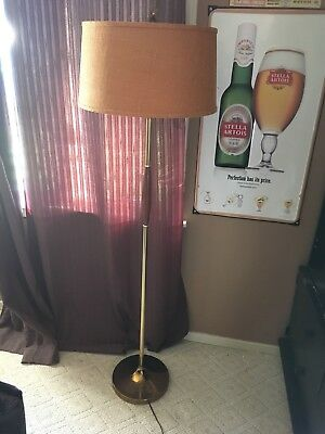 Vintage Mid Century Modern German Teak/Brass Floor Lamp Windmill